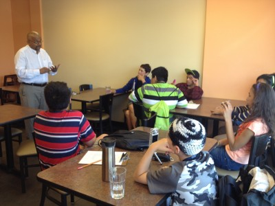8th graders learned about healthy Indian food from Dr. Swaroop Bhojani, owner of Hut-k Chaats.