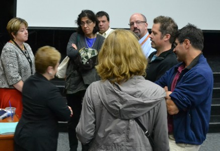 Dr. Swift and Liz Margolis speak with parents after the ALICE presentation