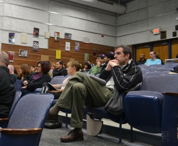 AAPS parents listen to the ALICE presentation by Lt. Matthew Lige, AAPD