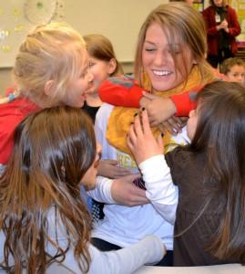 Cheerleader Cassandra Gelov was a hit with students.