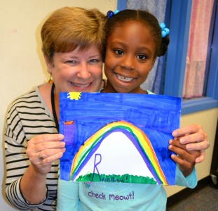 Principal Kit Flynn, shown with student Aaralyn L., started Focus Studies 17 years ago.