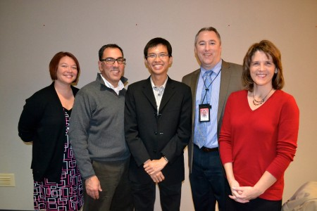 Wilber Lim, center, poses with AAPS teachers who visited Singapore this summer, including Kristal Jaaskelainen, Tom Pachera, Cory McElmeel and Laurie