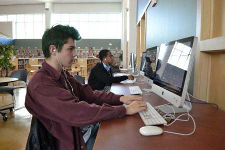 Lukas Krueger and Evan Denton study in the iCommons.