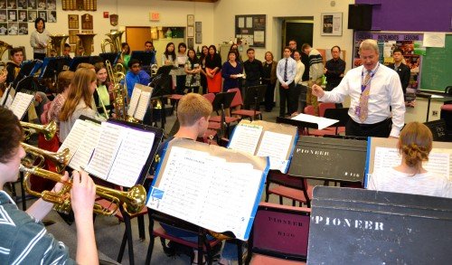 David Leach is pictured last month working with the  Varsity Band Brass and Percussion.