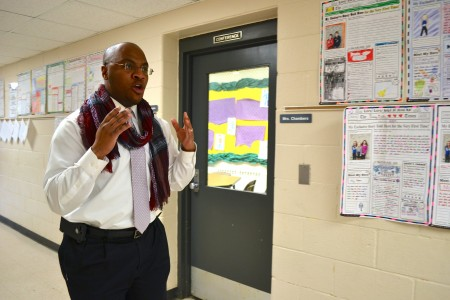 Johnson loves to show off the work hanging in the hallways.