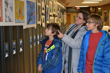 Visitors were free to browse the art, photography, and sculptures in the hallway and studios.