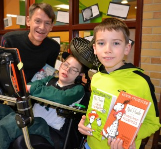Scott Z treated his sons, Sef and Tate, as well as 125 other students at Haisley and Ann Arbor Open, to a visit from their favorite author.