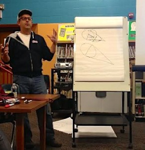 Kevin Sylvester included some cartooning tips in his presentation.