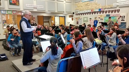 Joe     and his Tappan Middle School Orchestra practice for the big night.