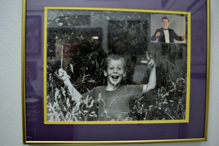This picture of the future band leader was shot by his mother when he was about five and playing in a field.