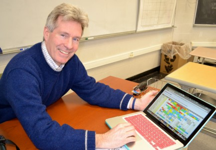 Peter Collins, who has had 85 crossword puzzles published in The New York Times, clicks on the website that shows all of them.