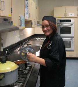Miranda Cox, in her culinary arts class.