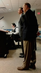 Durham School Services directors Justin Grygiel and Rick Klaus take questions from trustees Wednesday night.