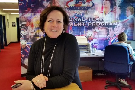Lisa A. Vollmers in the USA Hockey National Team Development Program office at the Ann Arbor Ice Cube.