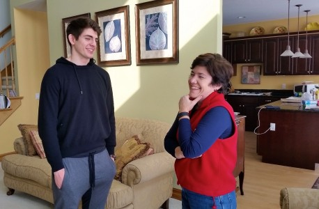 Hockey player   of Montreal  chats with his Ann Arbor mom, Michelle    , in the  living room of her Ann Arbor home.
