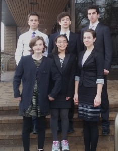 The winning team consists of:  Top (L-R): Noe Barrell (11th grade), Brett Boehman (12th), Basil Baccouche (11th) Front (L-R): Courtney Fulcher (11th), Ge-Ling Lee (11th), Ellen Sauer (12th). Here is a picture of our winning team. Names are as follows: Top (L-R): Noe Barrell (11th grade), Brett Boehman (12th), Basil Baccouche (11th) Front (L-R): Courtney Fulcher (11th), Ge-Ling Lee (11th), Ellen Sauer (12th).