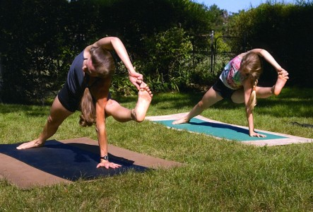 Yoga in the back yard. (Photo by Dwight Cendrowski.)