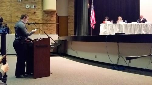 Joshua Wade addresses the crowd.