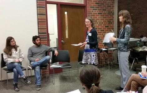 Dicken Garden parent coordinators Michele Loewe and Carolyn Herrmann speak at the workshop.