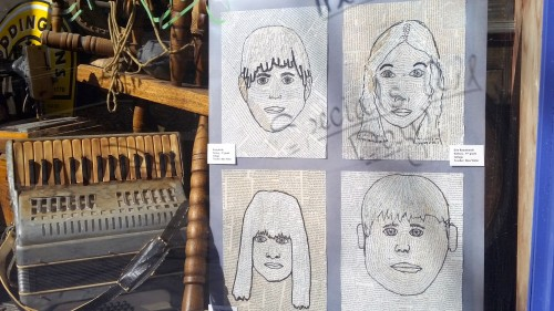 The work of Haisley students is displayed in the window of Conor O'Neill's