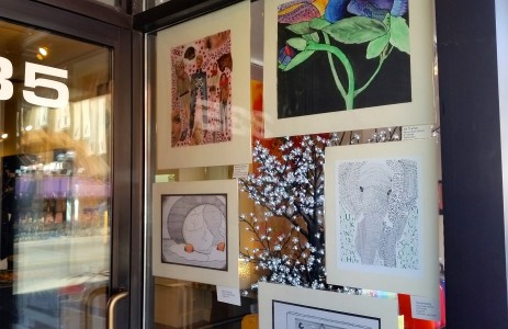 Most of the art is displayed in the windows of Main Street businesses between Washington and William.