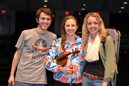 Ben Ratner, Orly Rubinfeld  and Elizabeth Young, at rehearsal.