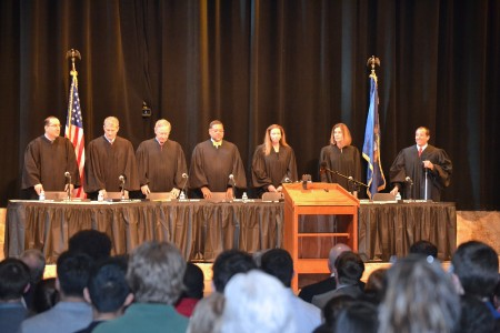 The Michigan Supreme Court held oral arguments at Pioneer High School April 29.