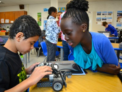 Students enjoy the robotics module.
