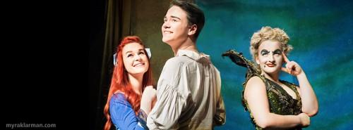 Playing lead roles in The Little Mermaid are Sam Torres,  Ariel; Callum Mein, Prince Eric; and Tasha Thomas, Ursula. Sam attends Skyline; Callum, Huron; and Tasha, Pioneer.