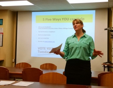 Citizens Millage Committee member Amy Pachera offers suggestions for how supporters can help pass the millage.