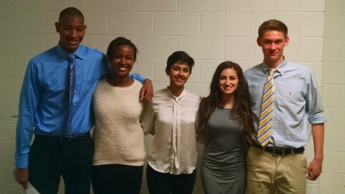 Skyline students Christopher Wilks, Cameryn Boyd, Sarika Tyagi, Nadina Hassan, and Lars Hallstrom addressed the Board of Education.