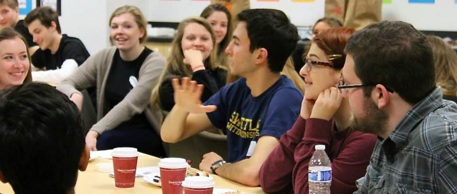 Writing tutors from Skyline High School interact with U-M writing tutors recently. Photo by Christine Modey.