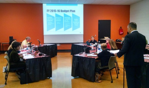 Marios Demetriou shares the 2015-16 proposed budget plan with the Board of Education.