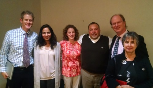 Mitchell Principal Kevin Karr, Clinical Assistant Professor Debi Khasnabis, Lecturer Melissa Stull, Scarlett Principal Gerald Vazquez, School of Music Associate Dean John Ellis, and Community Action Network Director Joan Doughty discussed the partnership with the Board of Education.