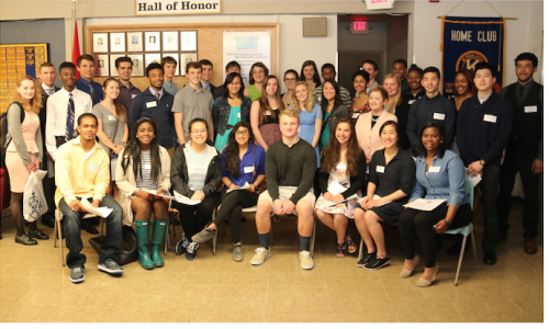 2015 Kiwanis Club of Ann Arbor Academic Scholarship Recipients - Seated, left to right: Frederick Ortiz, Obiageri Ugwuegbu, Tiana Huang, Mrittike Ghosh, Troy Morgan, Rachel Menge, Irene Wei, and Brenda Malcolm. Standing, left to right: Merideth Freiheit, Thomas Oldani, Kolapo Akinwumi, Jaiden Kruse, Peyton Lao, William C. Frank, Derrick Asher. Adrian Stoll, Michaerl Ficaro, Brendan Kielczewski, Anna Li Aguirre, Paul Mahowald, Brianna Johnson, Hebe Clark, Sarah McColm, Madeline Goodson, Sirenna Burks, Chauncey Williams, Coleen Truong, Sarika Tyagi, Joe Huppenbauer, Jeanice Kerr Swift, Emily Peterson, Robert Taylor, Emma Parow, Simon Ngyuen, Camae Abrahams, Steven Quach and Jalen Castrejon-Greer. Photo by Robert Gray.