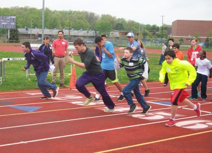 The start of the 100-yard dash at Unified Sports Day.