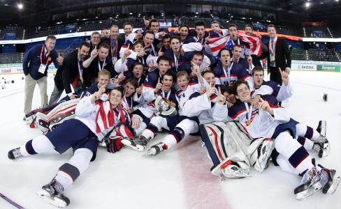 ZUG, SWITZERLAND - APRIL 26: Team USA celebrates their win over Finland during gold medal game action at the 2015 IIHF Ice Hockey U18 World Championship. (Photo by Francois Laplante/HHOF-IIHF Images)
