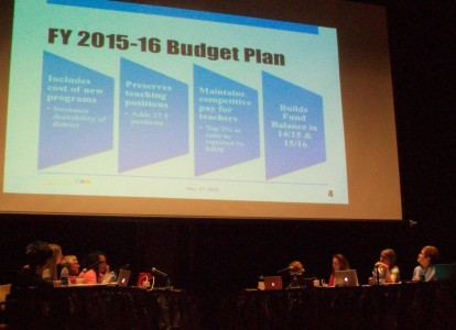 The School Board discusses the 2015-16 budget at their June 10th meeting at Skyline High School.