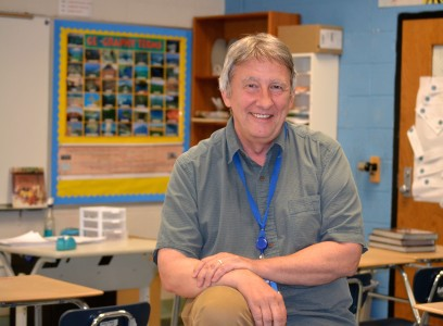 Brit Satchwell, in his Tappan Middle School classroom. Photo by Jo Mathis.