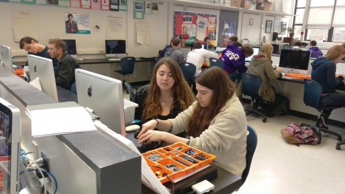 Groups of students in the Introduction to Computer Science course are designing and programming robots using Lego Mindstorms kits and the Java programming language.