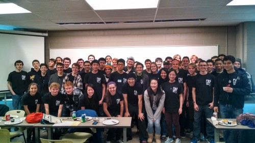 Pioneer CS students competed at the annual EMU Computer Programming competition, placing well in both the beginner and advanced divisions.  They are wearing the T-shirts they designed.