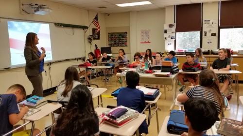 Attorney Elizabeth Dornik speaks to Slauson seventh graders.