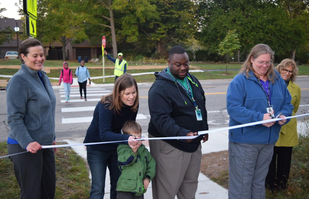 Ribbon cutting ceremony for the new sidewalk on Nixon Road.