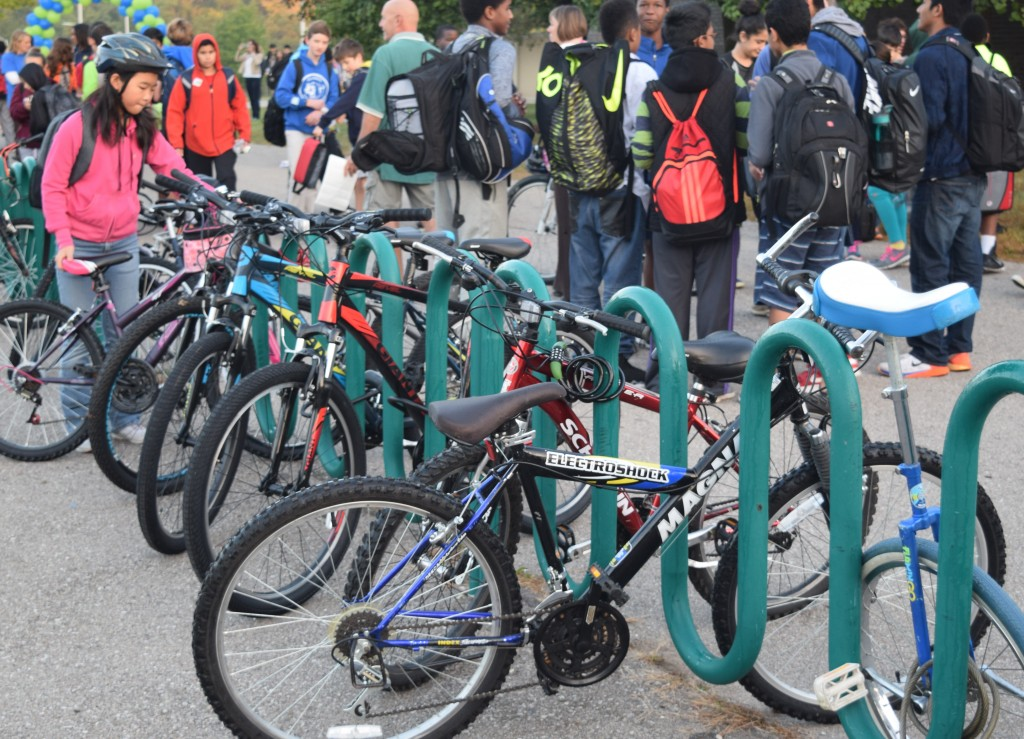 Many students also choose to ride their bike to school on International Walk to School Day.
