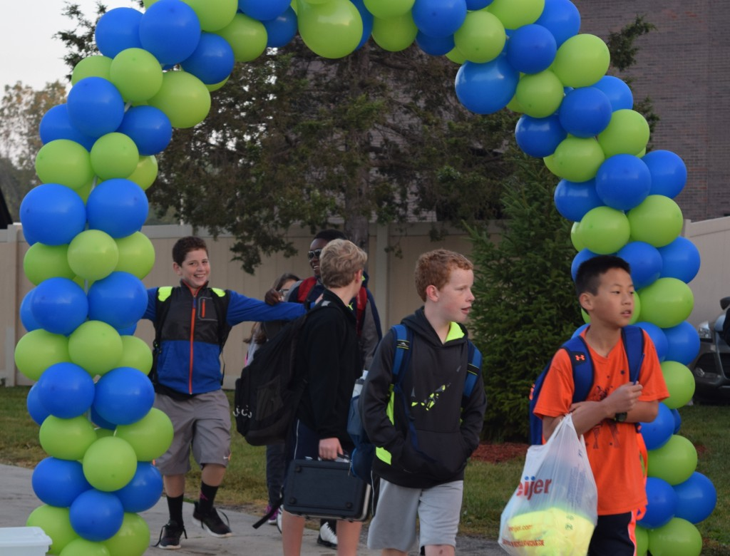 Students arriving at Clague Middle School on International Walk to School Day.