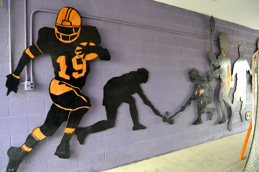Westfield created these athletic figures that line the PHS Stadium tunnel.