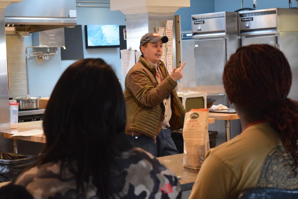 Zingerman's Cornman Farms managing partner Kieron Hale speaking to Pathways students.