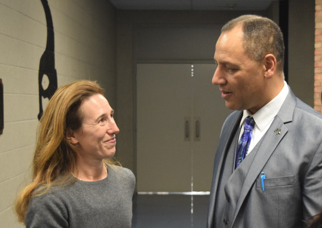 School Board Vice President Christine Stead chats with Assistant Superintendent Finance and Operations Marios Demetriou before the School Board Meeting.