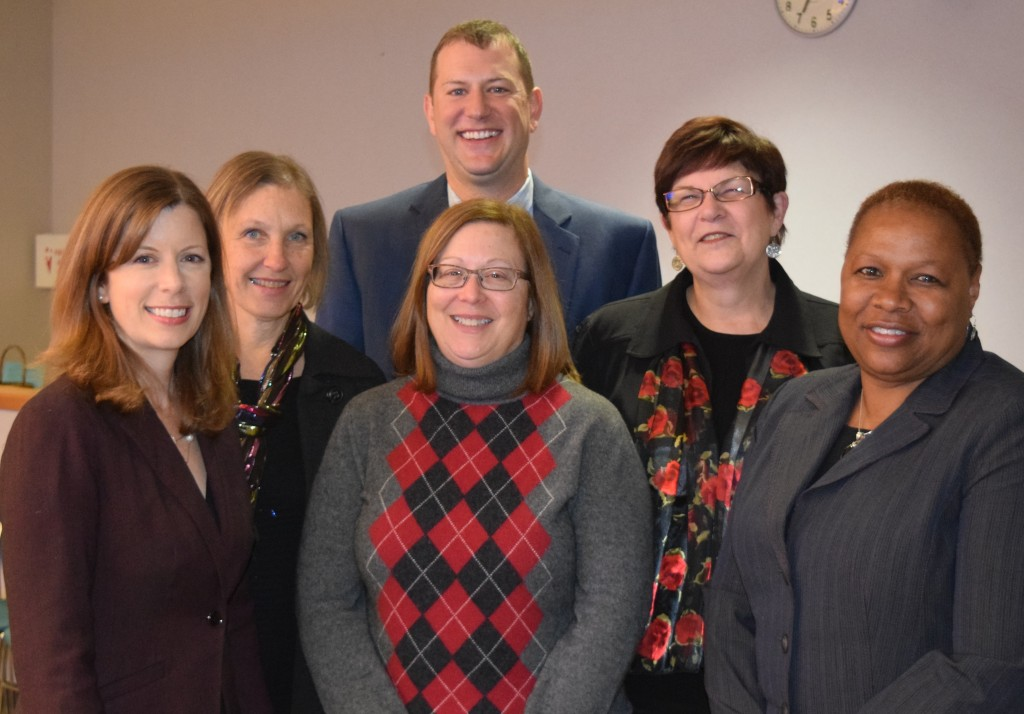Executive Director Jenna Bacolor, First Steps/Early On Manger Marj Hyde, Team Sports Manager Seth Dodson, Finance Manager Donna Dishman, Lifelong Learning Manager Sally Searls, and School Age Child Care Manger Vickie Malcom