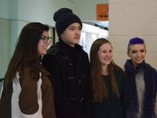Chinese television star Kristofer Niepert gets his picture taken with Skyline High School students.